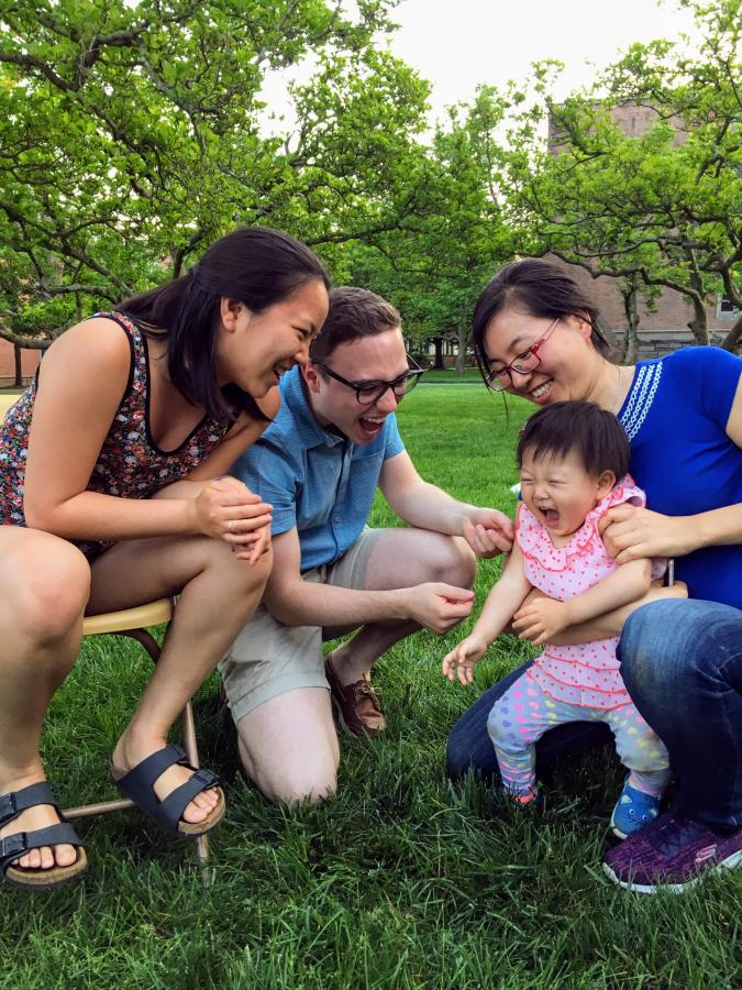 Evelyn and Nick with a future member of the Ploss lab