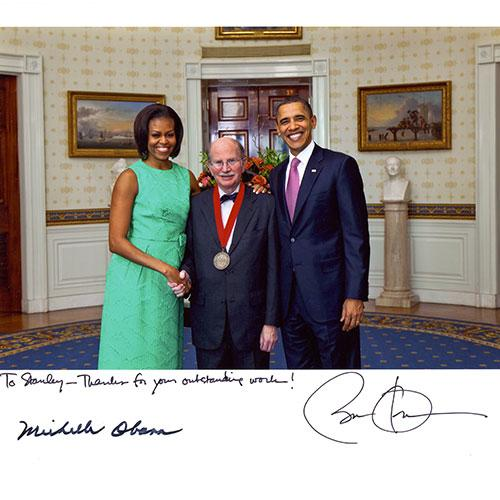 Stanley Katz with President Obama and Michelle Obama