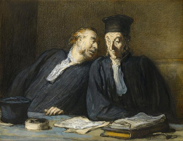 """Two Lawyers Conversing,"" by Honoré Daumier, ca. 1860s"