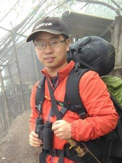 Dan Liang with backpack
