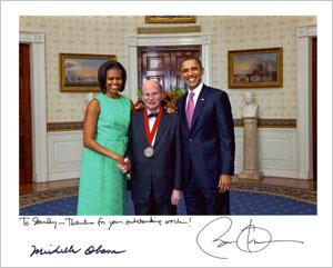 Stanley Katz with President Obama and Michelle Obama.