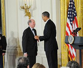 Stanley Katz awarded National Humanities Medal by President Barack Obama.