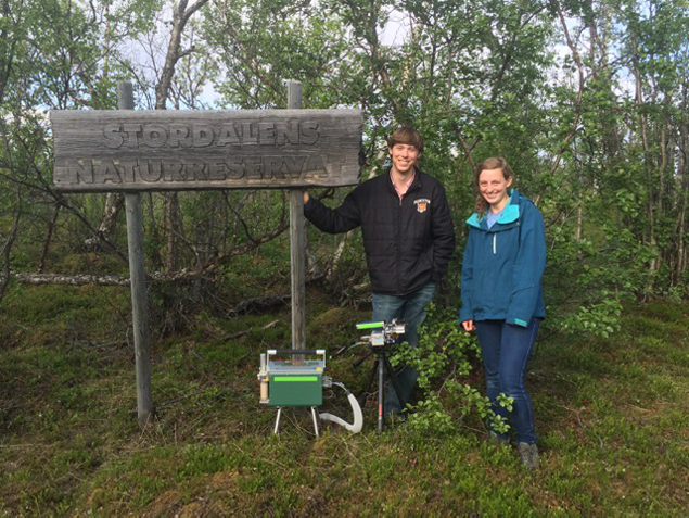 Undergraduates Joe Redmond '18 (Left) and Olivia Trase '17 (right) at the field site in Stordalen National Reserve, Sweden.  Photo by: Paul Gauthier