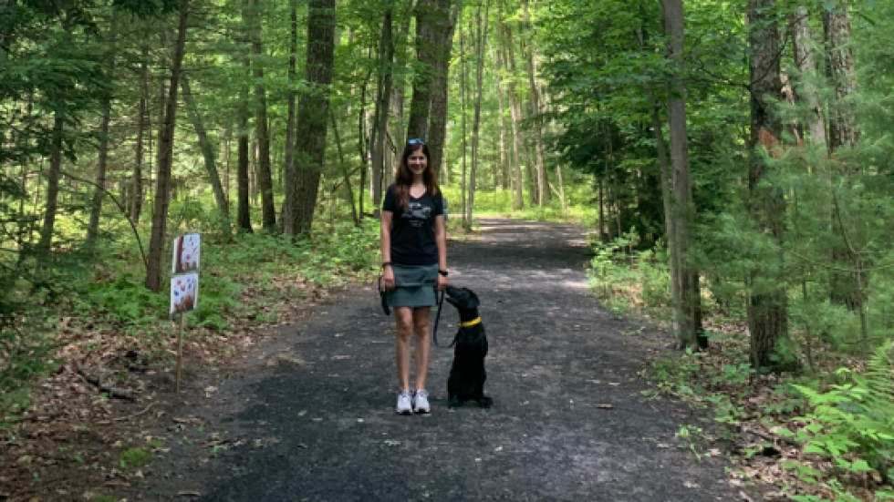 ileana and louie on a walk in PA
